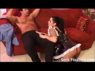 Licking the maid and worshiping her feet