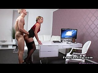 Muscled guy cums on hairy female agent