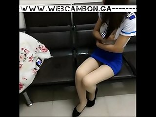 Www period webcambon period ga masked asian in school uniform Masturbating on school bench