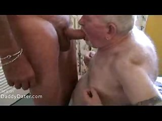 Silver daddy hairy bear grandpa with dentures sucking a big cock