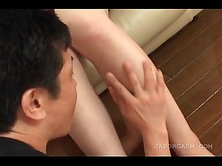 Asian sex doll gets hairy twat licked and fingered