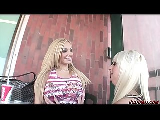 Blonde lesbian picks up bigtits babe for sex