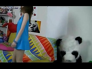 Teen girl with blue dress gets penetrated