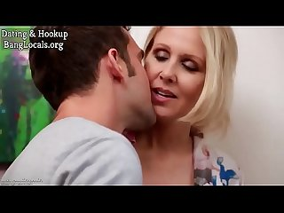 Busty stepmom Julia Ann rendering first aid to horny son