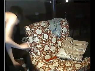 Black guy fucking a white boy pussy on the sofa