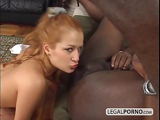 Sexy blonde fucked in the ass by a huge black cock BMP-3-05