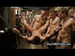 Bodybuilder gay fucked in clothing store