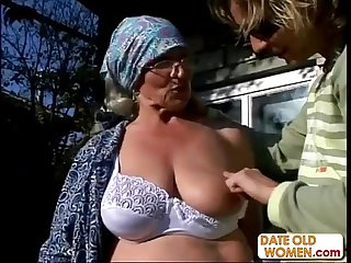Granny Gets Reamed By Young Stud Outdoors