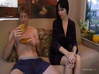 Bigcock son wake up fucking and cuming hot bigtits sexy mom