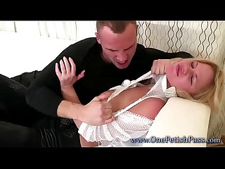Horny guy gets rough with blonde