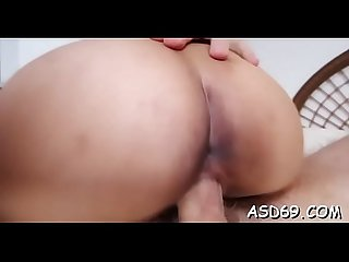 Luscious asian girl gets her juicy bawdy cleft drilled coarse