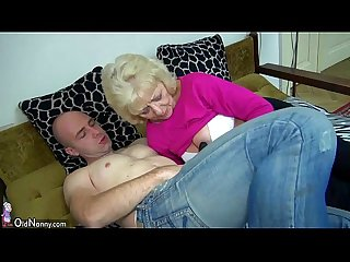 Old chubby granny in the bed has sex with horny man