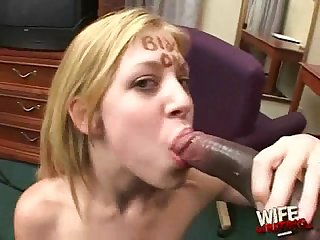Black cums in white mouth