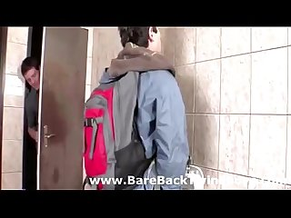 Bareback public gay blowjob for Twinks in Toilet