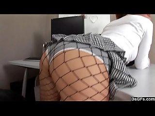 Sexy girl stripteases and fucks a dildo