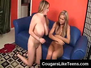 Cute teen sucks on tits and cougar clit