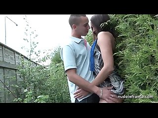 Young french slut ass fucked and gangbanged with papy voyeur outdoor