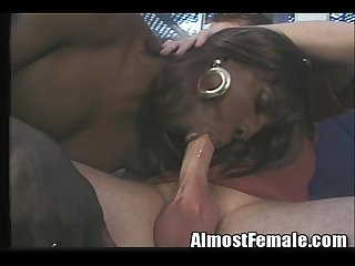 Black tranny getting white cock outside