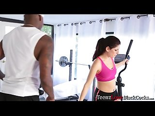 Hot brunette teen nikki gets fucked in the gym