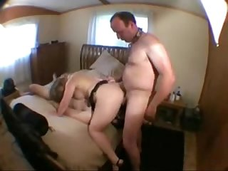 Cuckold eats cum with a slave-his wife's lover