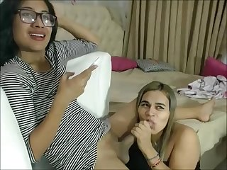 Blonde shemale eating her shemale partner s cum