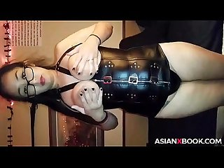 Busty asian babe toys her pussy