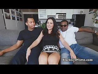 Big tit MILF on two big black cocks