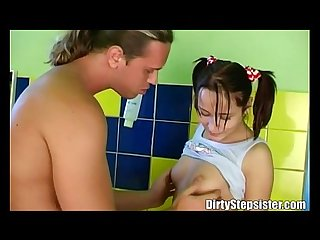 Stepsister fucked by her stepbrother in the bathroom