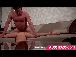 Cute aussie girl does splits while fucked upsidedown