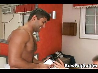 Handsome latino man ass and fuck it unprotected
