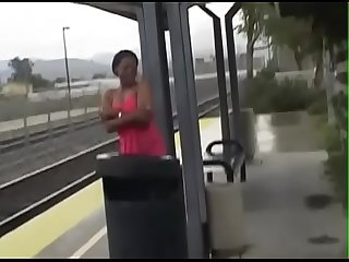 Ebony a too late for train so she get fuck inside a motorhome