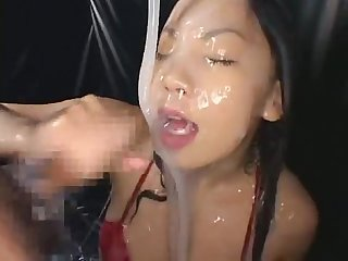 Sexy Asian Girl gets ladled with white goo comma then sucks cock and takes a cumshot excl