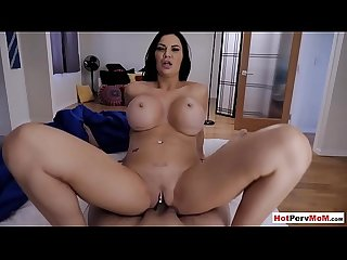 Busty cock addict stepmom wakes up and fucks stepson