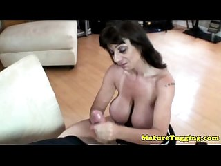 Tugging loving busty raven giving hj