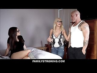 Hot MILF Stepmom Joins Daughter And Cousin Threesome