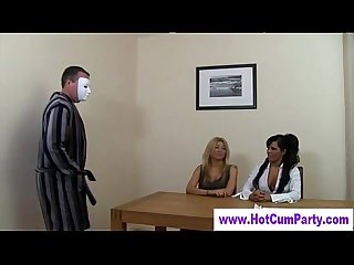 Dirty cfnm handjob femdom sluts delve out random handjobs