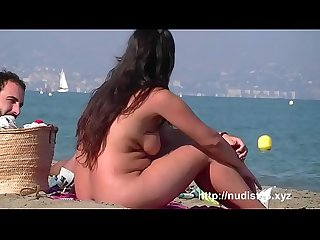 Sexually excited legal age nudist teenager pair on the beach