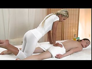 Brunette babe shaved pussy massaged