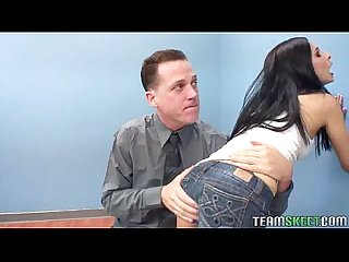 Raven haired teen gets her tight pierced pussy plundered by her prof