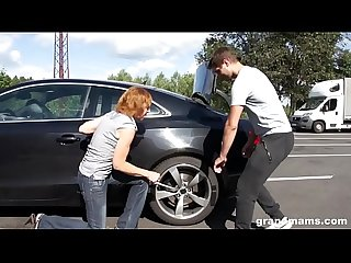 Horny old bitch Amanda stalled car premise fuck on grandmams com