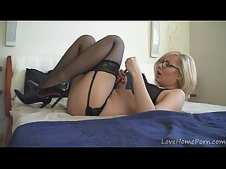 Golden-haired chick doing some pussy rubbing and fingering