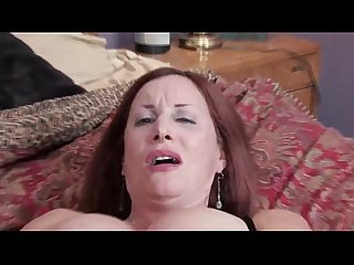 Redhead mature cougar in strockings heels gives herself intense orgasm