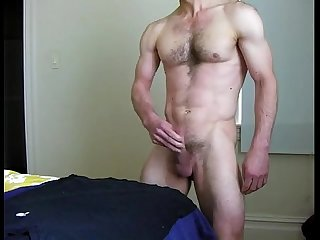 Toned slightly hairy chest guy strip jo cum on standing