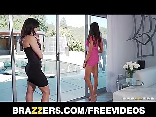 Two big tit brunette milf s seduce and fuck their poolboy