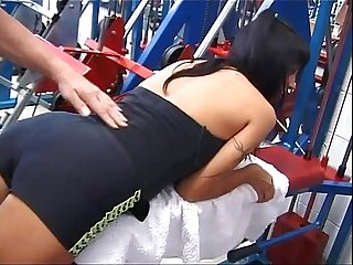 Hot Milf in A gym is picked on by three bad guys and banged with violence