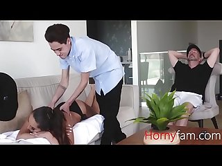 Young son takes good care of his step-moms pussy