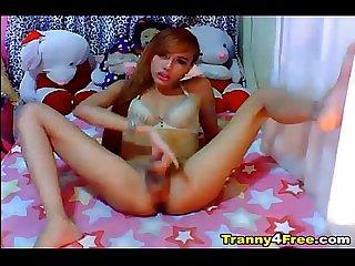 Hot tgirl strokes her dick