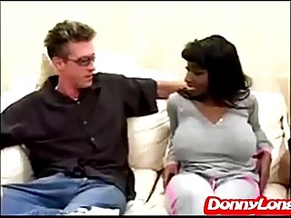 Donny Long rips open big titty black sexy mama asshole and pussy