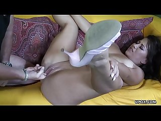 Big breasted brunette slut enjoys the rough anal cock ride