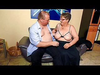 XXX OMAS - Fat mature German granny in stockings fucks lover